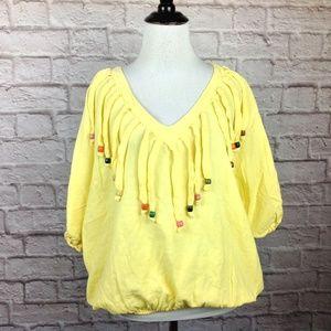 Vintage Cotton USA Top Women 1 Size Blouse Yellow